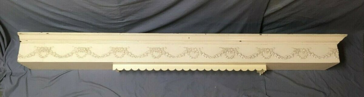 """Vtg 87"""" Wood Valance Decorative Wreath Swags Old Architicture 407-19E"""