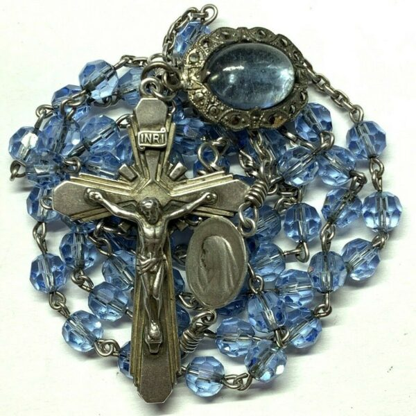 """† VINTAGE STERLING BUBBLE STYLE IMMACULATE PENDANT & BLUE GLASS ROSARY 27 1/2"""" †"""