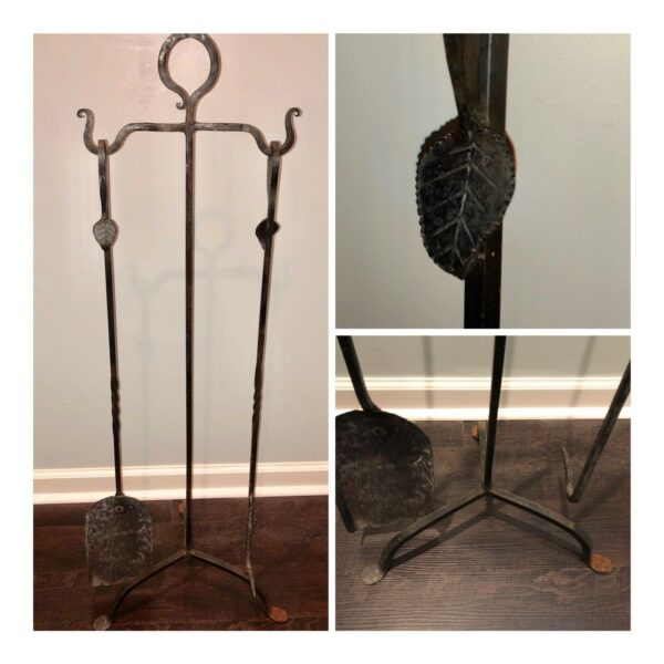 Antique Hand Hammered Wrought Iron Appalachian Style Fireplace Hearth Tools Set
