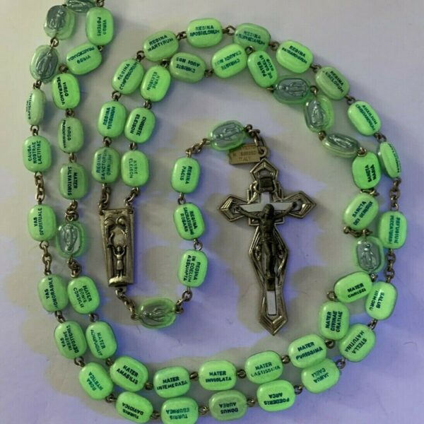 """† SCARCE VINTAGE GLOWS IN THE DARK LEGATURA ALPACCA ROSARY NECKLACE 34"""" W/ TAG †"""