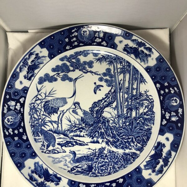 Antique / Vintage Chinese Blue and White Porcelain Charger Diameter: 16.5 inches