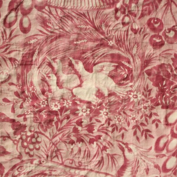 Antique French quilt bed cover c1830 pink bird basket floral Toile d' Alsace