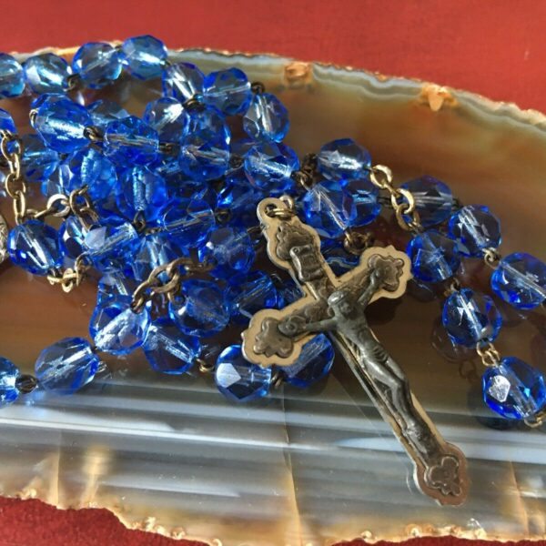 Vintage Signed Catholic Italy Relic Jesus St Mary Rosary Blue Crystal Religious