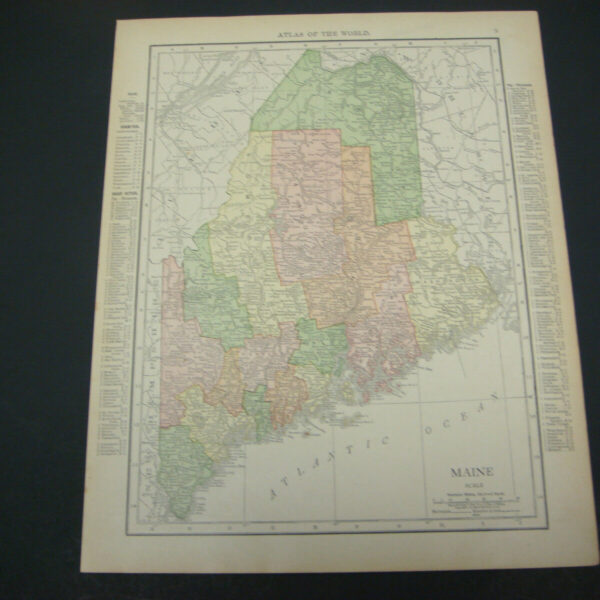 1914 Rand McNally Atlas Map Page Maine / New Hampshire Color Suitable To Frame