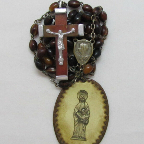† LOURDES PILGRAMAGE VINTAGE GENUINE OVAL AGATE GLASS ROSARY &  OUR LADY MEDAL †