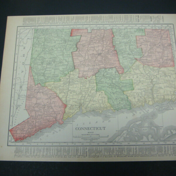 1914 Rand McNally Atlas Map Page Connecticut / New York Color Suitable To Frame