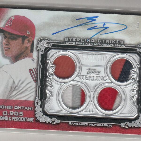2020 TOPPS STERLING SHOHEI OHTANI QUAD  RED RELIC AUTOGRAPH CARD  2/5