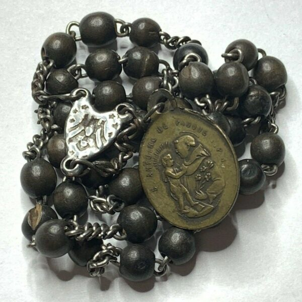 """† SCARCE SIGNED ANTIQUE """"ST ANTHONY"""" FRENCH BROWN WOOD & BRASS CHAPLET ROSARY †"""