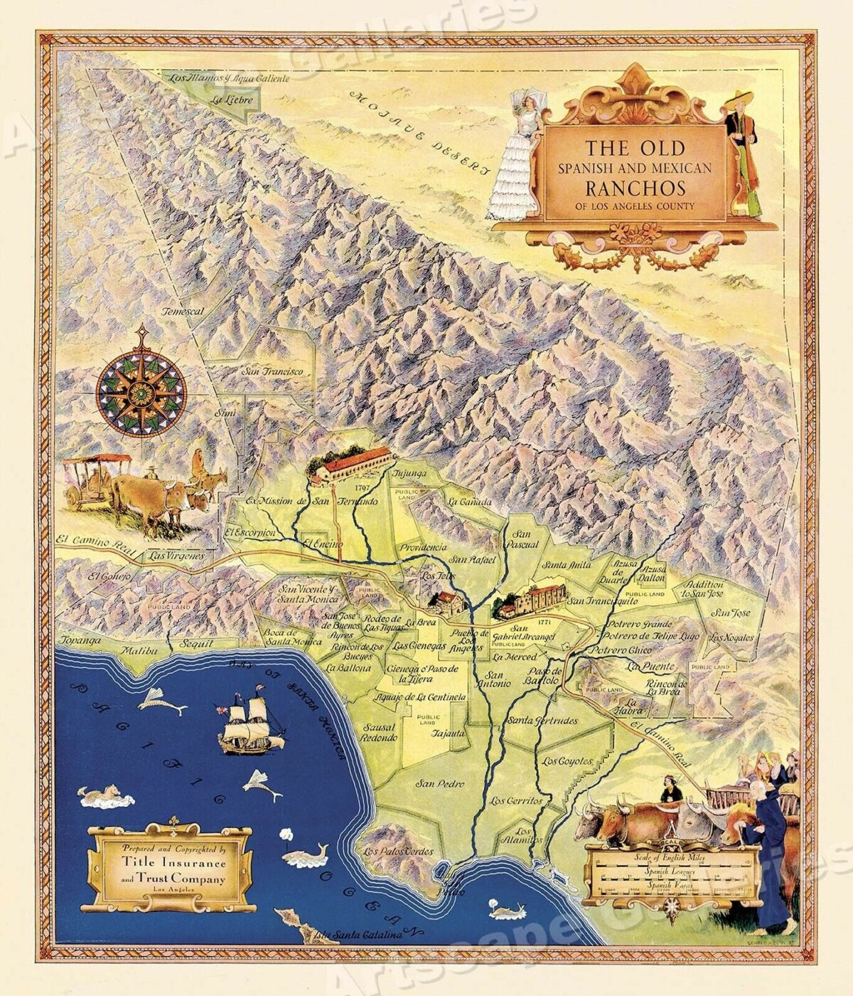 1930s Old Spanish Ranchos Map of Los Angeles - 24x28