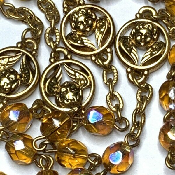 """† VINTAGE """"VATICAN LIBARY"""" GOLD TONED LINK YELLOW AB ROUND ROSARY NECKLACE 31"""" †"""