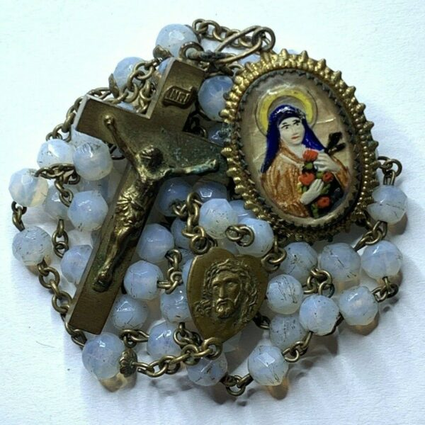 † SCARCE CZECHOSLOVAKIA ANTIQUE OPALINE OPAQUE GLASS ROSARY PAINTED ST THERESA †