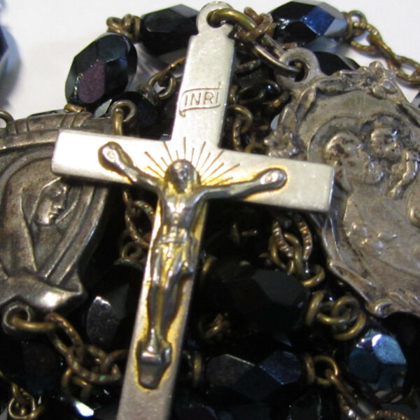 "† HTF VINTAGE ""GRACE OF A HAPPY DEATH"" JOSEPH'S PROTECTION BLACK GLASS ROSARY †"