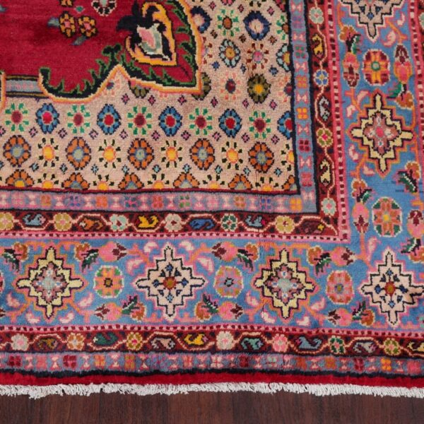 Geometric Medallion RED Viss Area Rug Wool Hand-Knotted Oriental Carpet 7'x12'