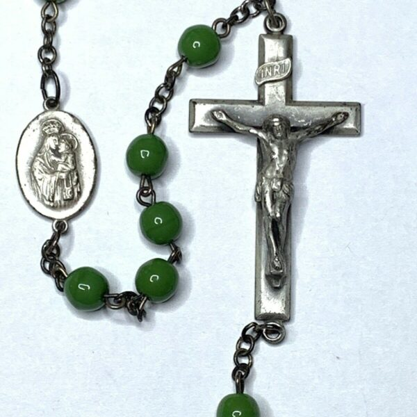 "† SUPER RARE ANTIQUE ""KANT TANGLE"" CIRCULAR GREEN GLASS ROSARY 32"" PANT PENDING†"