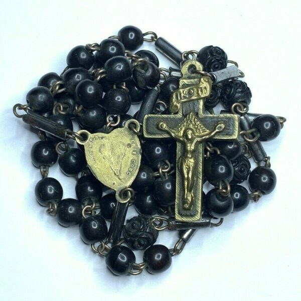 † ANTIQUE MID1800S UPSIDE DOWN CENTER 4 NAIL CROSS CARVED ROSARY W TUBE LINKS  †