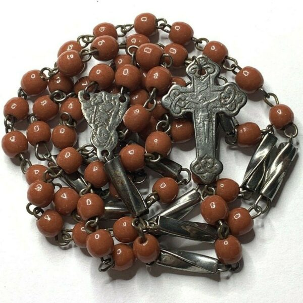 † SCARCE c1800s ANTIQUE PRIMITIVE BURNT ORANGE ROSARY DOUBLE SIDED CROSS †
