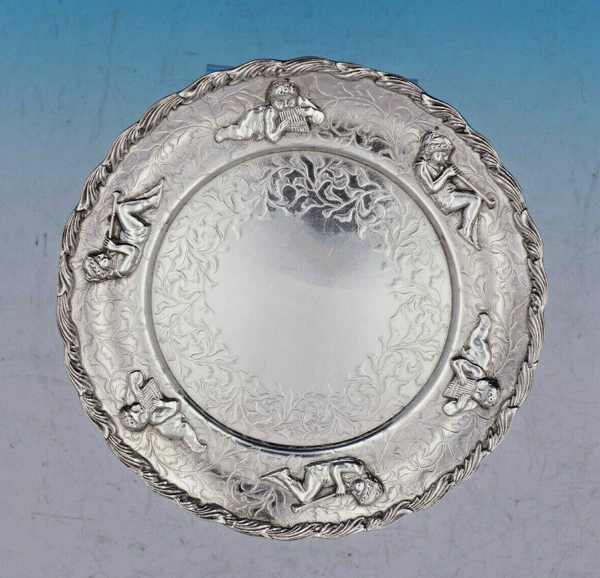 Whiting Serving Plate with applied Cherubs playing Musical Instruments (#4583)