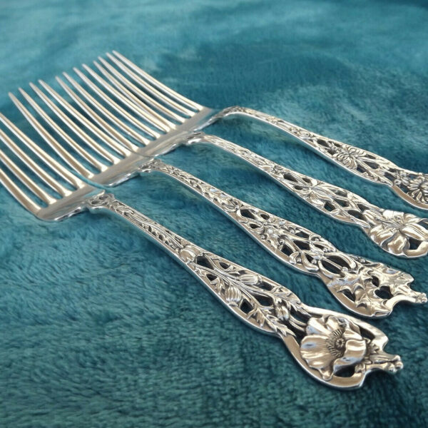 "Four Mixed Floral Series No. 5 by Watson Newell  6 3/8""  Tea forks no mono NICE"