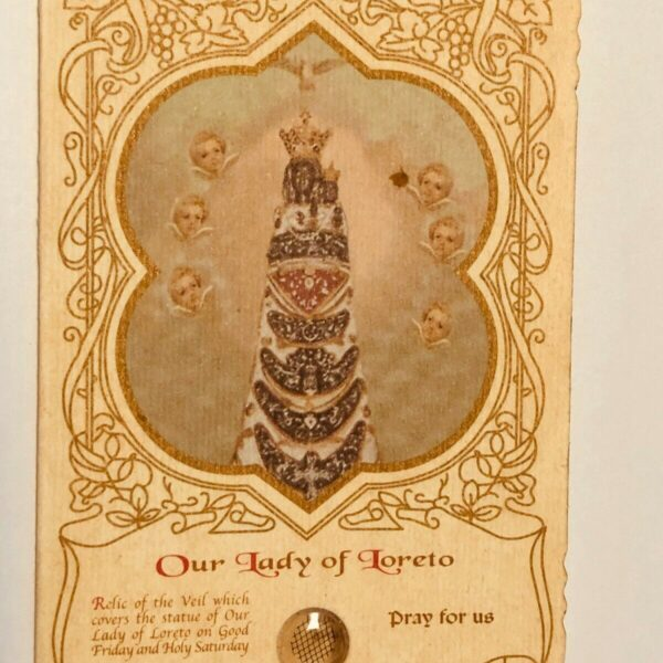 Our Lady of Loreto Scalloped 3rd Class Relic Folder, From Italy, New