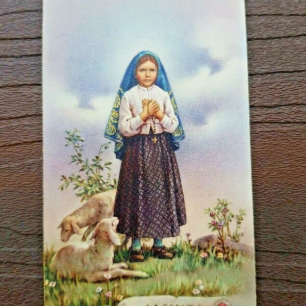 Vintage 1960 St. Jacinta Marto Holy Card With Seal & Relic 3 Secrets Of Fatima