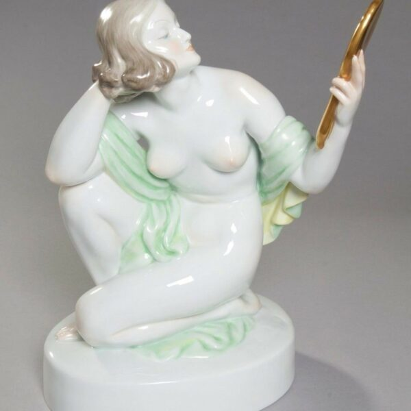 """HEREND """"Glamour Lady with Mirror"""" XXL 15.5"""" Porcelain Figurine Hungary, PERFECT!"""