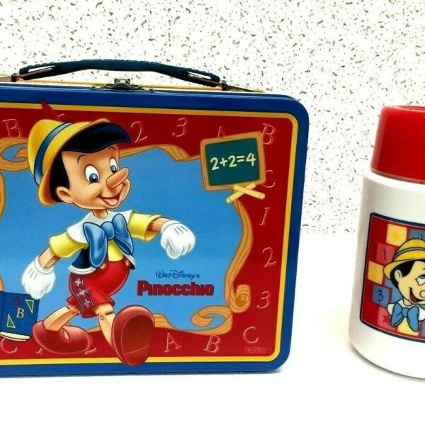 Thermos Brand Pinocchio Metal Lunch Box with Roughneck Bottle - Red