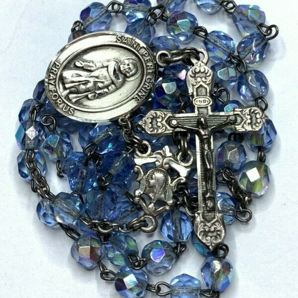 "† BLESSED GIFTED STERLING ""ST PEREGRINE"" MEDAL & BLUE GLASS ROSARY 21 1/2"" †"