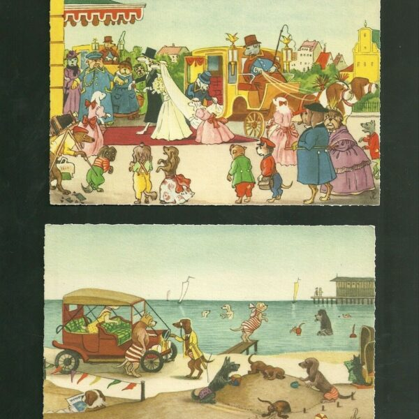 2 Dogs at the Beach & Wedding Unused Post Cards For Marcel Schurmann Importers