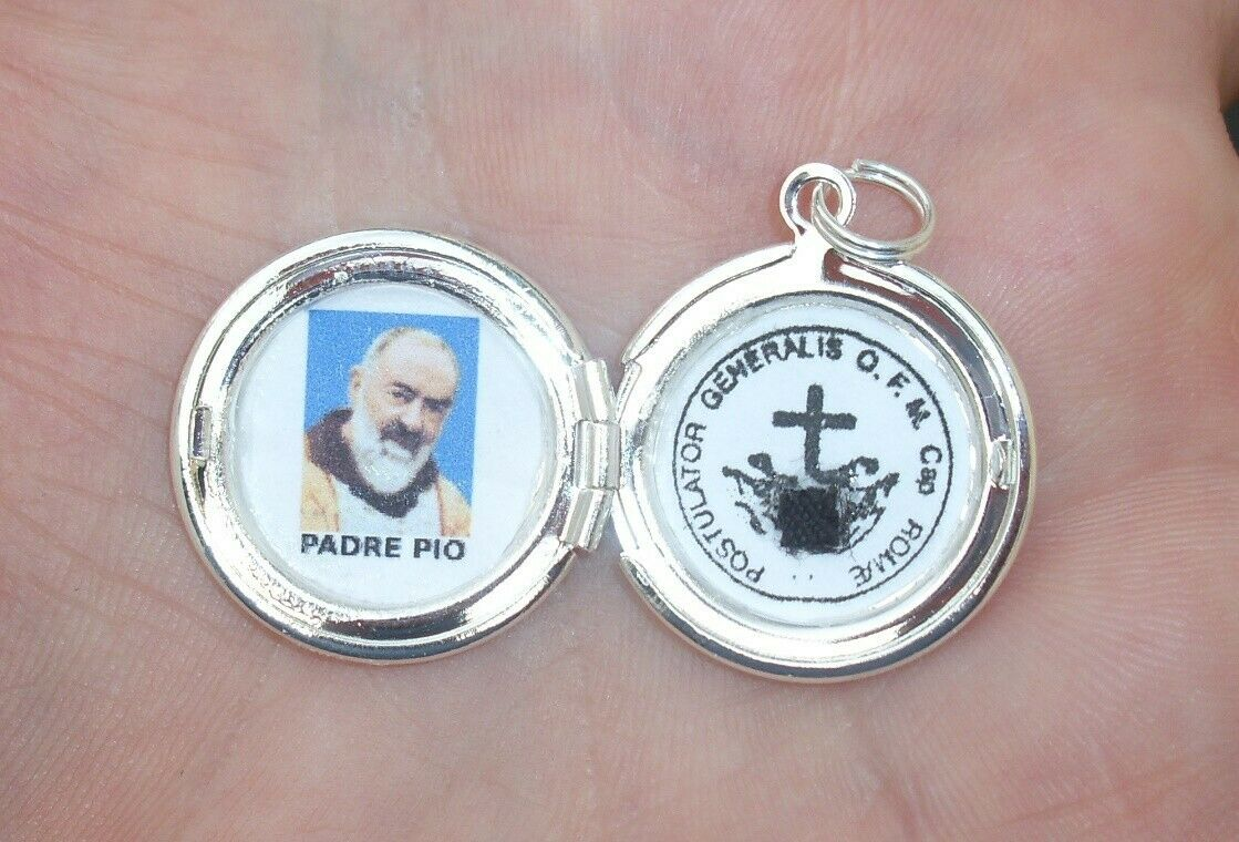 St Padre Pio relic locket--bright polished silver toned--beautiful!