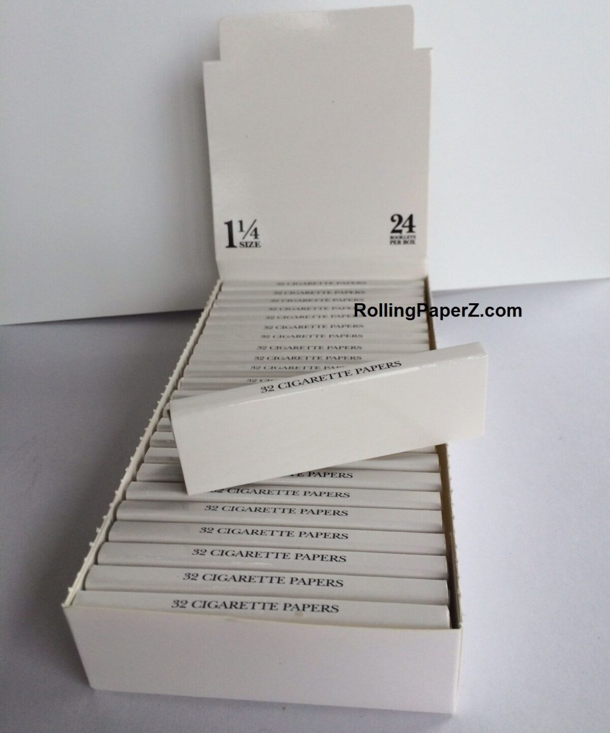 BOX of 24 Packs PLAIN BLANK Cigarette Rolling Papers 1 1/4 size/ 32 leaves each