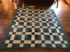 Old Antique Large Thick Handmade Blue Calico Quilt Textile AAFA
