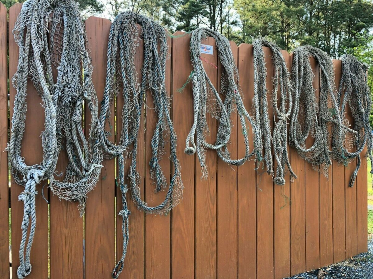 20 ft Authentic Braided Nylon Fishing Net Rope - Old Used Vintage Nautical Decor