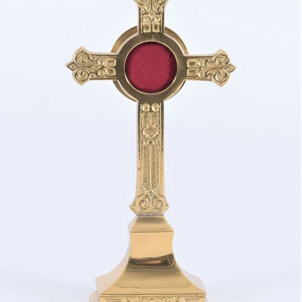 """+ Smaller Ornate Brass True Cross Reliquary for your Relic + 7 1/2"""" ht. (#289)"""