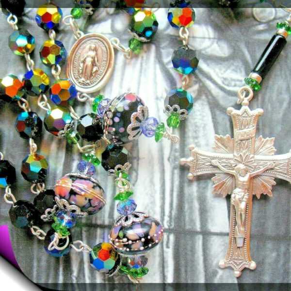 Large Rosary Swarovski 9mm Jet AB Beads  Custom Lampwork Our Father Beads 925 SS