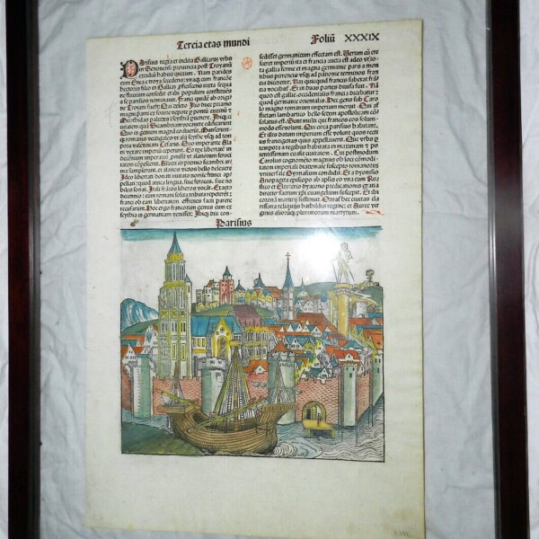 1493 Paris & Mainz Hand Colored Incunabulum Leaf Woodcuts Nurnberg Chronicle