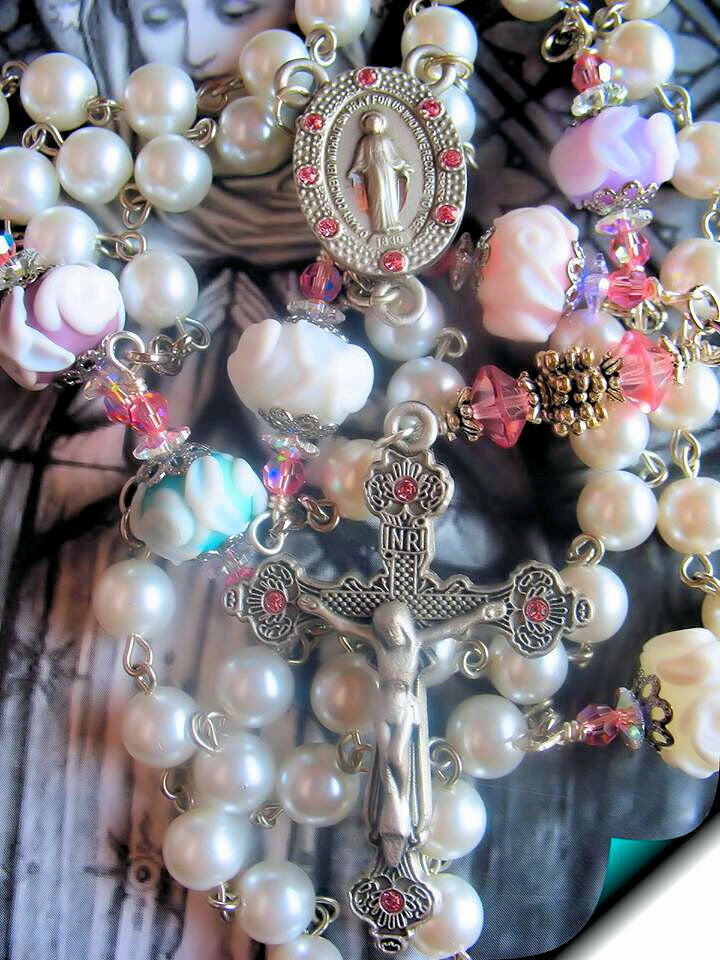 Handmade Pearl  Rosary with Etched Roses Pater Beads  Blest Padre Pio Relic