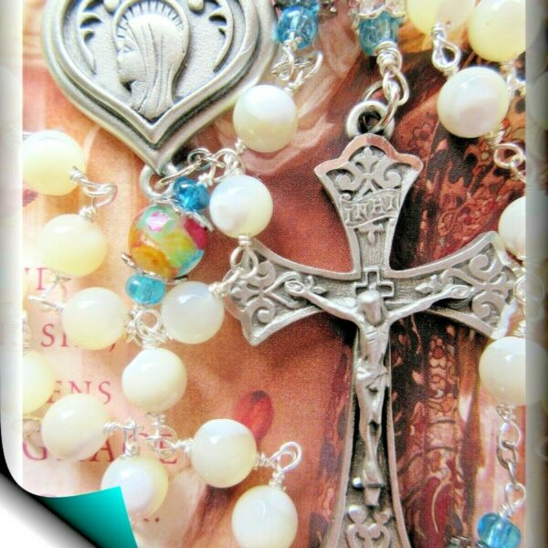 Handmade Rosary Our Lady of Lourdes White Mother of Pearl w Mosaic Blessed