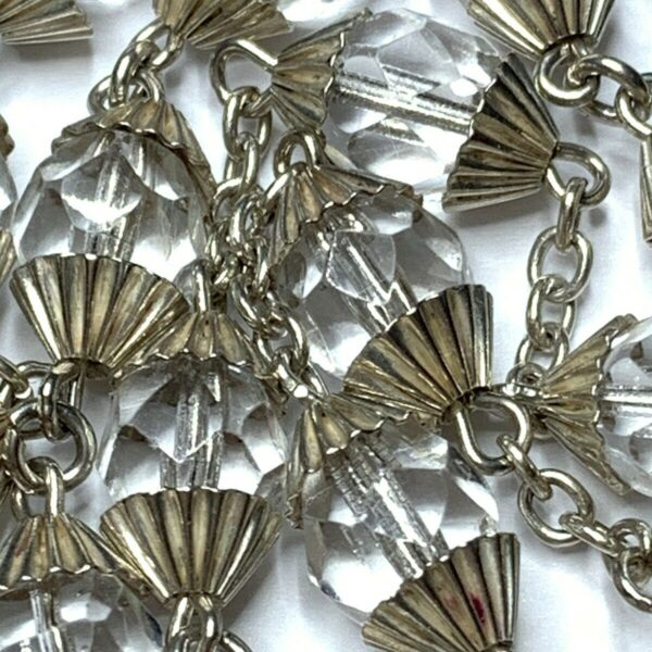 """† VINTAGE STERLING ROCK CRYSTAL DOUBLE CAPPED ROSARY 37 1/2"""" NECKLACE 52 GRS †"""