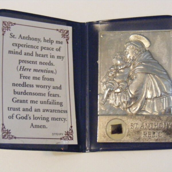 Vtg old stock medal pocket folder shrine St. Anthony of Padua relic prayer card