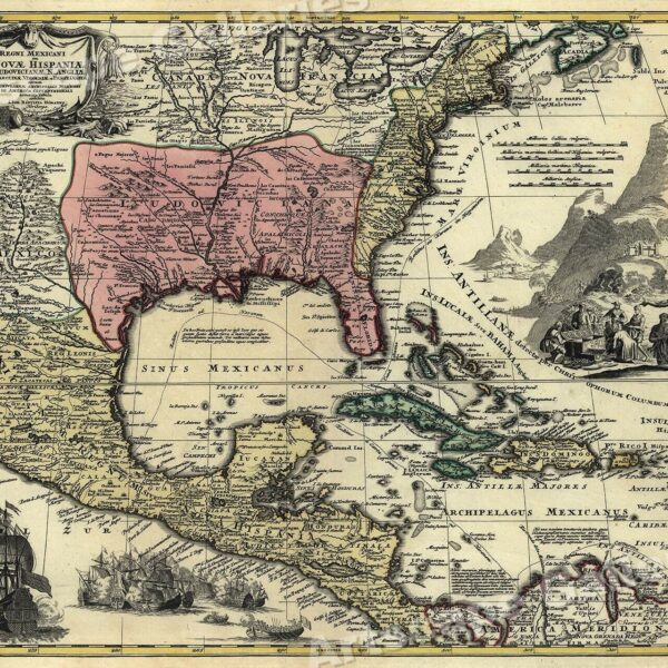 1750s Detailed Map of New Spain and the Spanish Colonies - 20x24