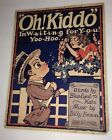 Sheet Music Oh Kiddo 1910s Great Illustration Couple Big Eyes Great wall art