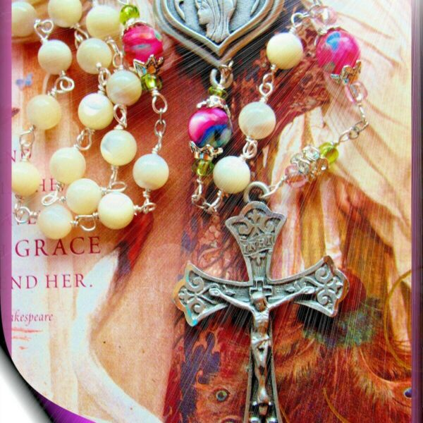 Handmade Mother-of-Pearl Rosary w Lourdes Holy Water Blest w Padre Pio Relic