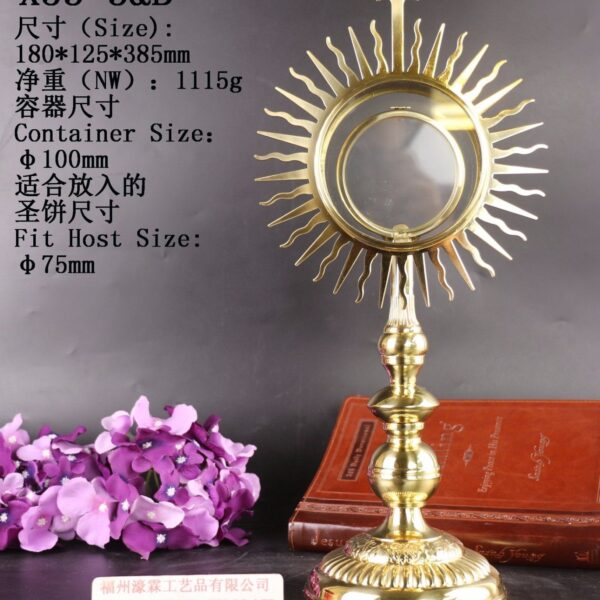Nice Brass Monstrance Reliquary with Lunette X53-3&B