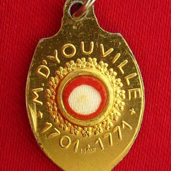 VINTAGE SAINT MARGUERITE D'YOUVILLE RELIC MEDAL Birth & Death 1701-1771 ITALY