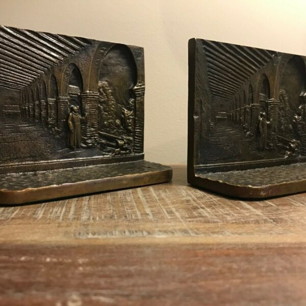 Pair of Antique Solid Bronze Figural Bookends