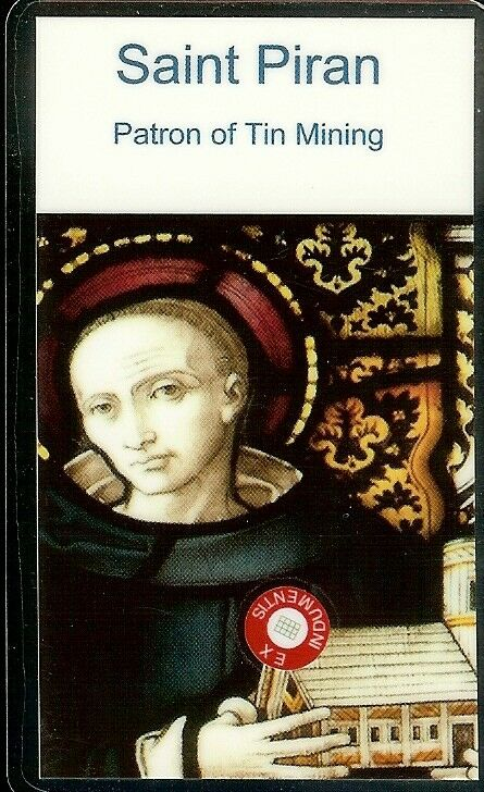 "Saint Piran Patron of Tin Mining 2nd Class Relic Card Laminated 3 1/2"" x 2 1/4"""