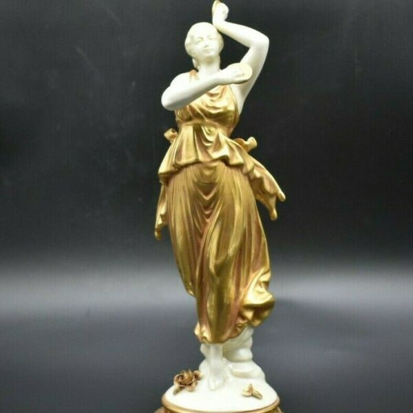 Volkstedt Dresden German Neoclassical Goddess Dancing Woman In Gold 10 3/4""