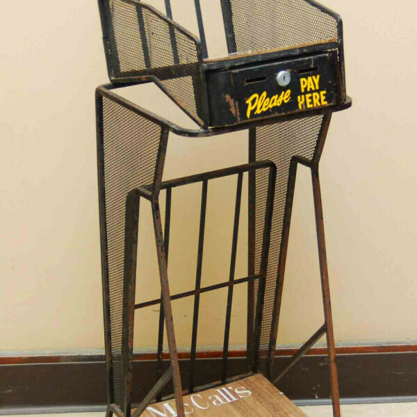 VINTAGE WROUGHT IRON MAGAZINE VENDING COIN OP RACK STAND GENERAL STORE NEWSSTAND