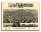 Bird's Eye View 1883 Kalamazoo MI Vintage Style City Map - 18x24