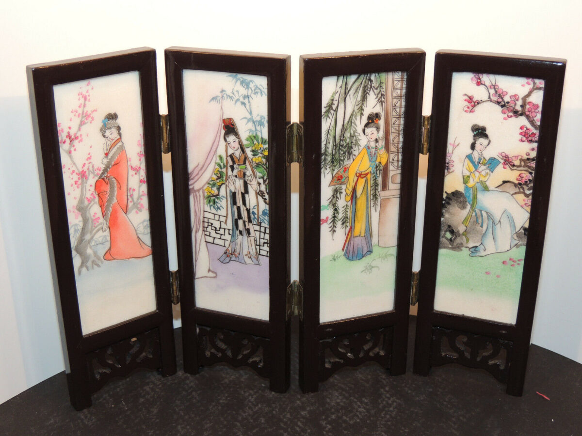 Wood and Alabaster Japanese Hinged Handpainted Screen Panel 2 sided (10072)